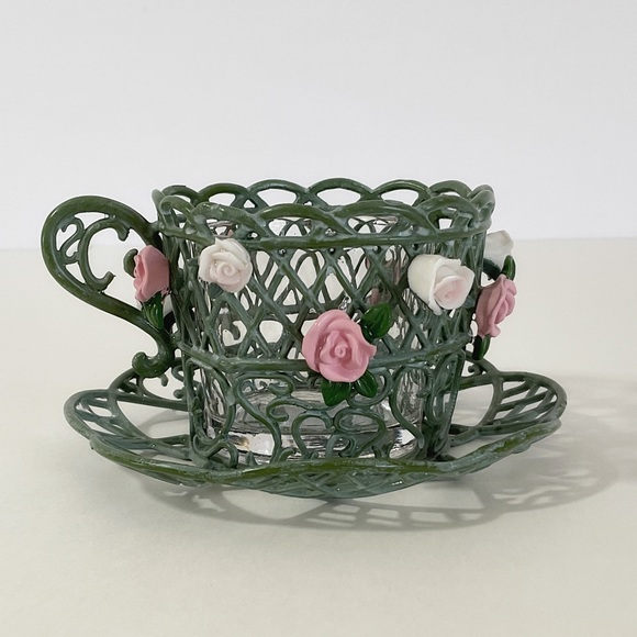 Partylite Enchanted Rose Retired Tea Cup Saucer